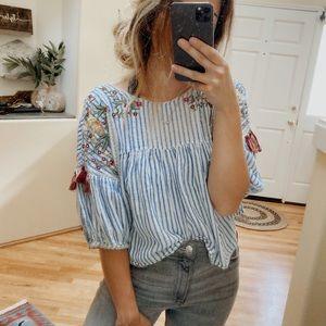 Zara Striped Floral Embroidered Tassel Shirt